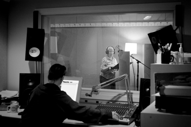 Pat Hoggatt recording at Jack Straw, Photo by James Chen, 2012
