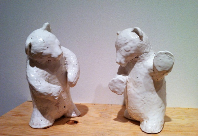 Two ceramic bears by Jeffry Mitchell